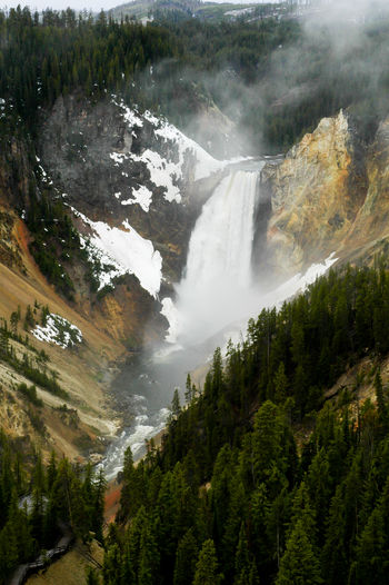 Scenic view of upper yellowstone falls
