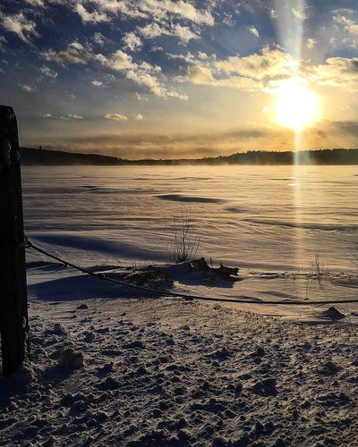 """Winter"""" Lake Frozen Sunset Nature Scenics Beauty In Nature Tranquility Sky Tranquil Scene Sunlight Outdoors Cloud - Sky No People Sun Day Water"""