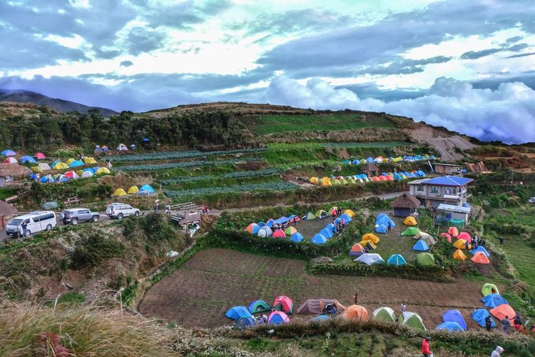 Cloud - Sky Sky Mountain Landscape Agriculture Outdoors Field Mountain Range Nature Scenics Beauty In Nature Tents Philippines Mt. Pulag Fuji Fujifilm Fujifilm_xseries FUJIFILM X-T10 Day