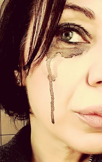 Portrait One Woman Only One Person Close-up Human Face Woman Portrait Woman After Crying Eye Messy Eye Makeup Smudged Makeup Crying Eye Emotion Emotional Photography Emotion Photography Emotional