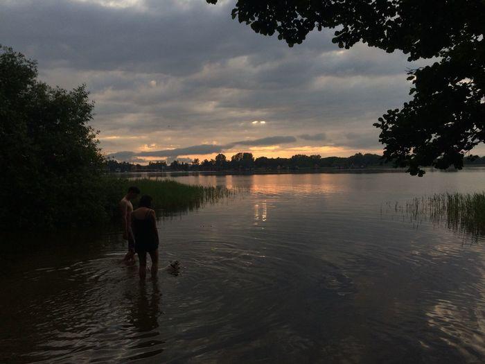 Sonnenuntergang Wasser See Menschen Hund Baden Wolken Summer Sunset Orange Lake Water Clouds Dog Live For The Story