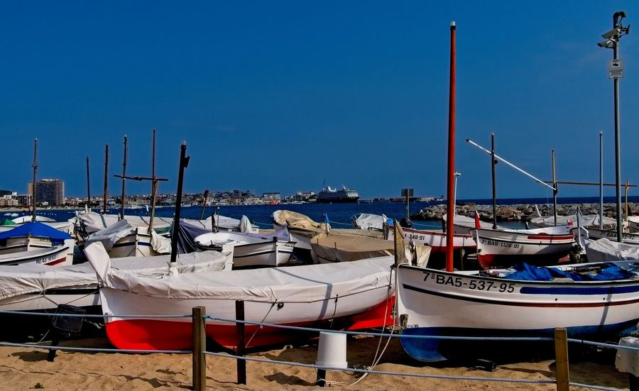 Harbour Beach Blue Clear Sky Fishing Boat Harbor Nautical Vessel No People Outdoors Sea Transportation Water