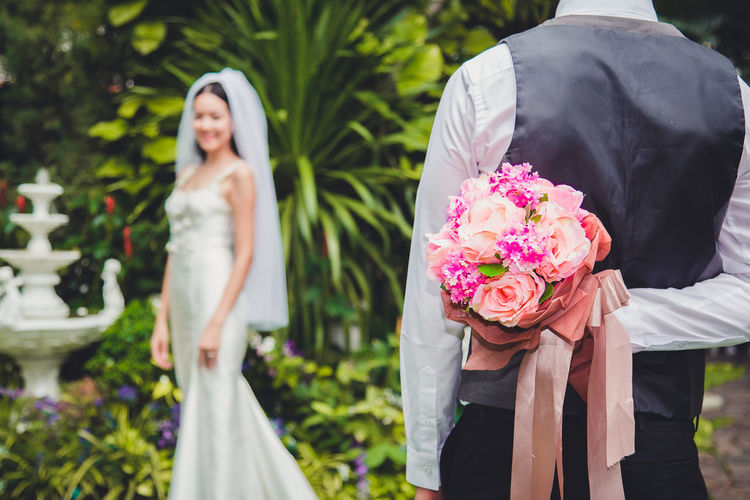 Close-up of couple standing outdoors