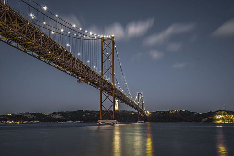 Low angle view of 25th of april bridge over river tejo in lisbon against sky