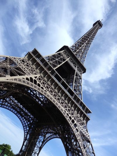 EyeEm Selects Low Angle View Architecture Built Structure Cloud - Sky Travel Destinations Travel Outdoors Beautiful View High-end Living Style Paris, France  Eifel Tower Different Perspective Dramatic Sky
