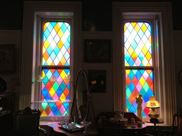 Church Creepy Day Horizontal Indoors  Multi Colored No People Stained Glass Sunlight Vintage Window