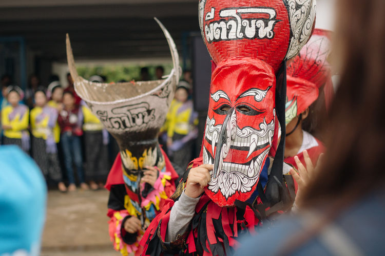 Thailand Asian Culture ASIA Southeastasia Festival Crowd Group Of People Street Celebration Lifestyles Spectator Obscured Face Protestor Mask Large Group Of People Focus On Foreground Outdoors City Day