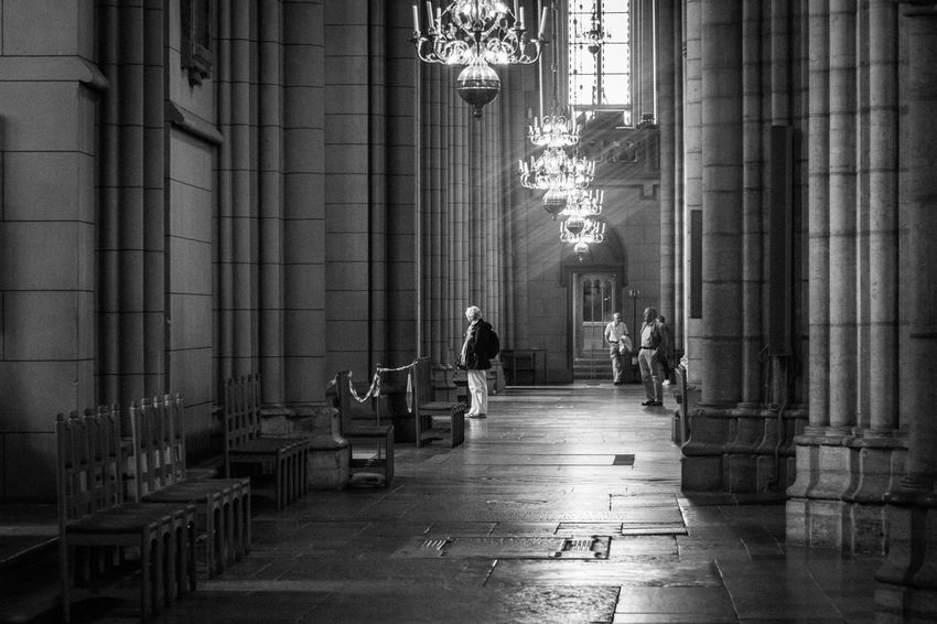 Indoors  Built Structure Religion Real People Architecture Place Of Worship Day Pew Curtain Full Length People Church Uppsala Sweden EyeEm Best Shots EyeEm Masterclass Blackandwhite EyeEm Black&white! Light And Shadow