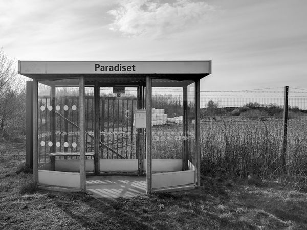 Barbed Wire Booth Bus Stop Countryside Desolate Field Paradise Public Transport Remote Sweden Traveling Waiting