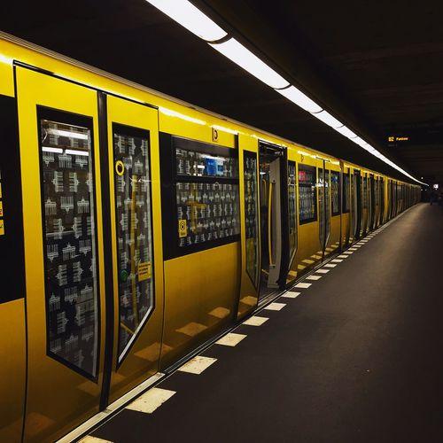 Subway Train At Illuminated Platform