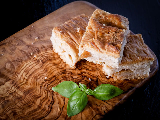 Basil Bread Brown Close-up Food Food And Drink Freshness Healthy Eating Herb High Angle View Indoors  Leaf Leaves Nature No People Plant Part Ready-to-eat Snack Still Life Table Temptation Wellbeing Wood - Material