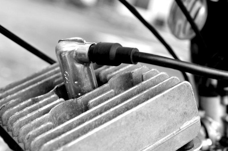 Close Up Technology Zündkerze Simson Outdoors No People Close-up Streetphotography Moped Old Technology Old Fashion Bnw Black & White Blackandwhite Monochrome Spark Plug Bike Bike Design