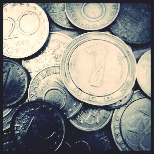 Money Coins Bulgaria Bulgarian Money Lev Black And White Macro Money Vintage
