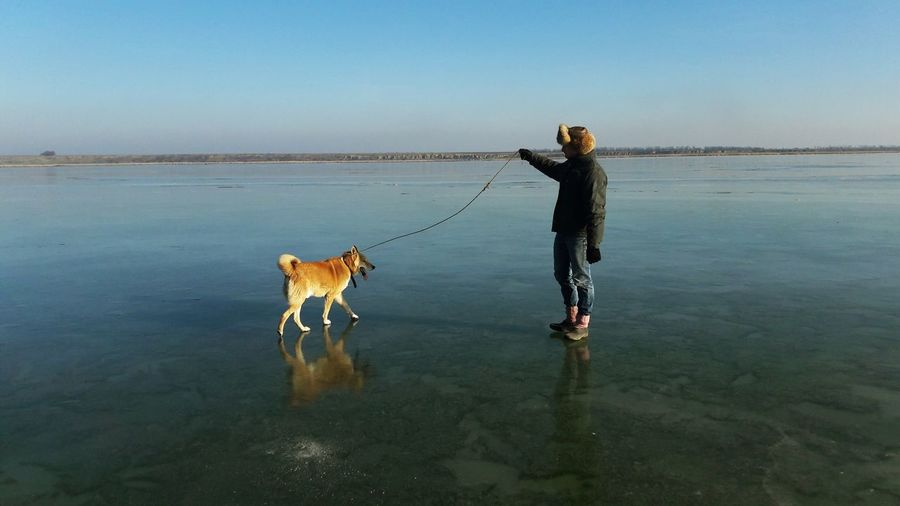 Man with dog on shore at beach against sky