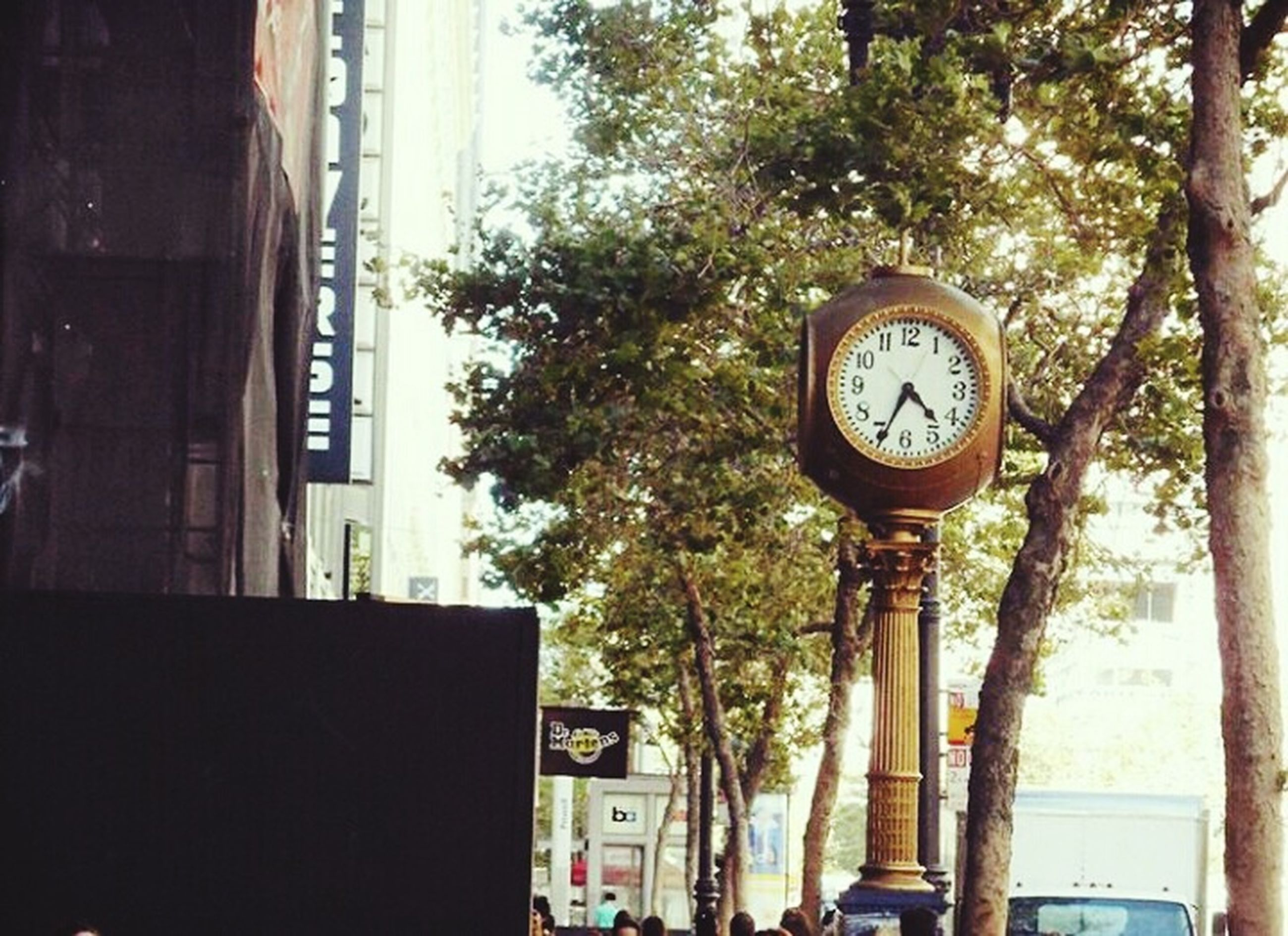 clock, time, tree, low angle view, instrument of time, no people, clock face, day, outdoors, minute hand, hour hand