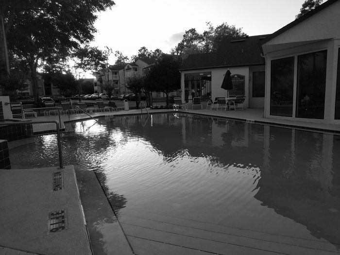 After Work Pool Swimming Water Poolside Resting Tree Water Reflection Sky Architecture Building Exterior Built Structure Reflecting Pool Swimming Pool Floating In Water Resort Pool Party