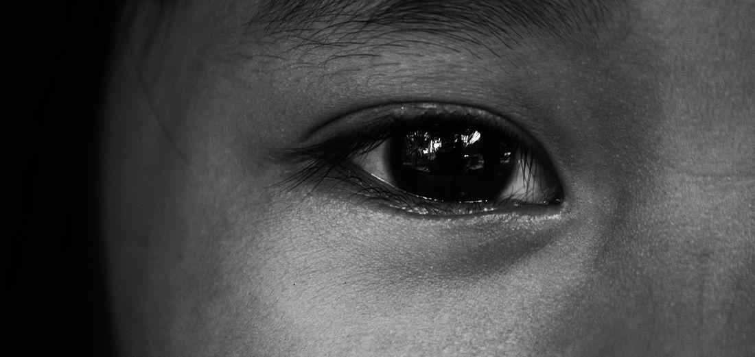 Close-up portrait of girl eye