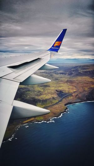 Not the usual wing view... Boeing 757 Winglet Reykjavik Iceland Foggy Cold Spoilers Airplane Water Flying Sea Nautical Vessel Aerial View Beach The Traveler - 2018 EyeEm Awards