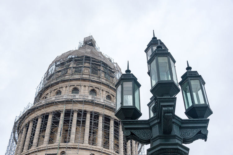 Vintage lamp and Capitol building cupola in reconstruction Arch Architecture Building Exterior Built Structure Capital Cities  City Day Dome Façade Famous Place High Section History International Landmark Low Angle View No People Outdoors Sky Tourism Travel Travel Destinations