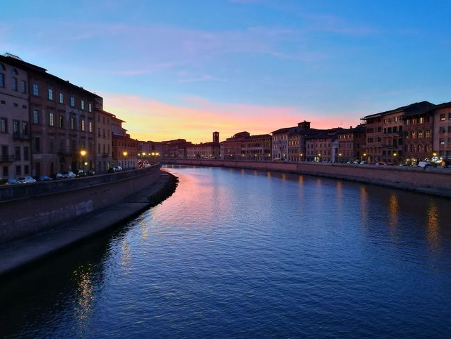 Reflection Architecture Travel Destinations Sunset Tourism Cityscape Water History Politics And Government Sky Travel City Outdoors Illuminated Built Structure Night Building Exterior Vacations No People Urban Skyline Arno  Arno River Pisa Lungarno