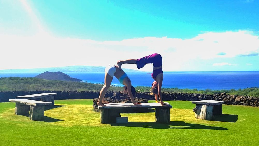 Blue Healthy Lifestyle Sky Sport Grass Lifestyles Looking At View Fitness Scenics Nature Relaxation Exercise Outdoors Exercising Flexibility Adult Two People Day Women Architecture One Person Volcano Hawaii Scenic Landscapes Yoga Scenic Lookout