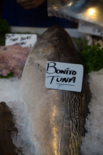 Bonito Tuna Close-up Fish Fish Market !!! Market Stall Selling Spices Outdoors Tuna Tunafish