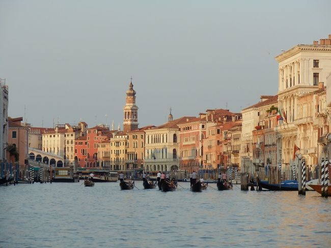 Architecture Boat Building Exterior Built Structure Canal City Clear Sky Copy Space Incidental People Mode Of Transport Moored Nautical Vessel Residential Building River Tourism Transportation Travel Travel Destinations Venice Venice, Italy Water Waterfront Photography In Motion
