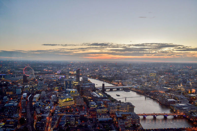 Night view of London from the top of The Shard British London London Night View Nightphotography Renzo Piano The Shard, London Architecture Building Exterior Built Structure City City Life Cityscape England High Angle View No People Outdoors River Skyscraper Sunset Travel Destinations Urban Skyline