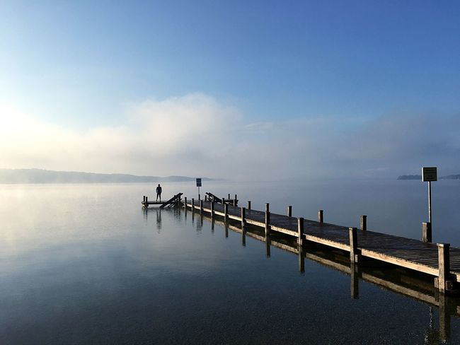 People And Places Water Pier Tranquil Scene Sea Tranquility Scenics Calm Cloud Blue Waterfront Jetty Empty Lake Ocean Sky Idyllic Long Majestic Seascape Lake Of Starnberg