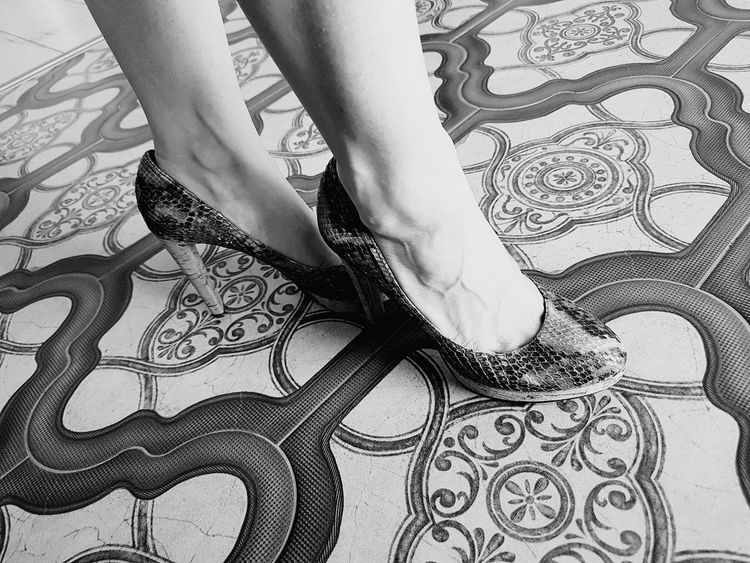 Low Section Human Body Part Human Leg Lifestyles Close-up Standing EyeEmNewHere PhonePhotography Monochrome Photography Blackandwhite Photography Blackandwhite Shoes ♥ HighHeels Fashion Nice Shoes Nice Legs  Feet Pattern Pattern Floor Black And White Friday