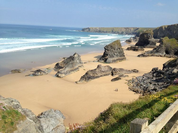 Newquay Beach Newquay Sea Nature Beauty In Nature Beach Rock - Object Scenics Horizon Over Water Water Tranquility Sand Tranquil Scene Outdoors No People