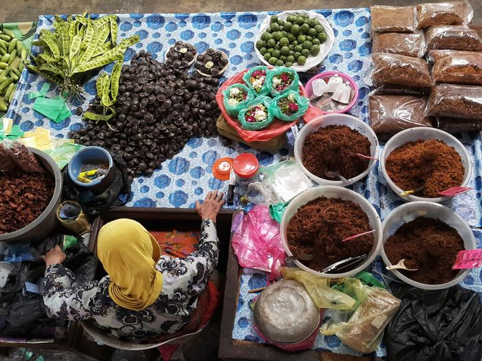 High angle view of multi colored market stall