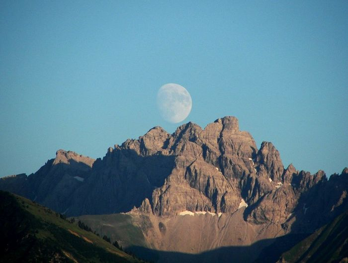 Beauty In Nature Moon Mountain Nature Oberstdorf Allgäu Rock - Object Sky Tranquil Scene