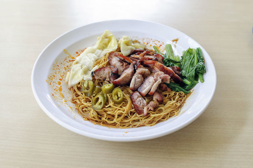 Wanton Noodles Char Siew Charsiew Hawker Food Noodles Wanton Noodles Bowl Close-up Day Food Food And Drink Freshness High Angle View Indoors  Meal Meat No People Plate Ready-to-eat Serving Size Still Life Table Wanton