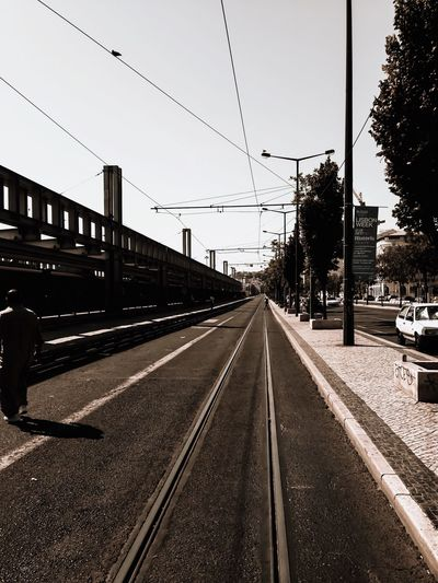 Train Station Cais Do Sodré, Lisboa Lisbon Transportation Sky Nature The Way Forward No People Diminishing Perspective Mode Of Transportation Rail Transportation Track Direction Railroad Track Day Outdoors City Architecture Street Built Structure vanishing point Tree Road The Street Photographer - 2018 EyeEm Awards Summer Road Tripping