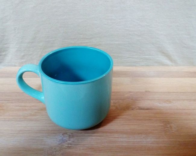 the blue cup Coffee Cup Pot Pottery Ceramic Ceramics Light Blue Table Woid Wooden Board Shelf Beige Background Blue Drink Close-up Tea Cup