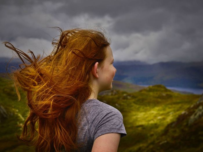 EyeEm Selects Real People One Person Leisure Activity Mountain Long Hair Lifestyles Young Adult Nature Cloud - Sky Outdoors Sky Young Women Day Blond Hair Scenics Standing Beauty In Nature Women People