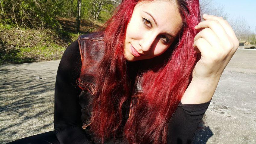 Confidence  Emanuelared Fashion Happiness Lifestyles Long Hair Metalhead Portrait Redhead Rocknroll Smiling Young Women