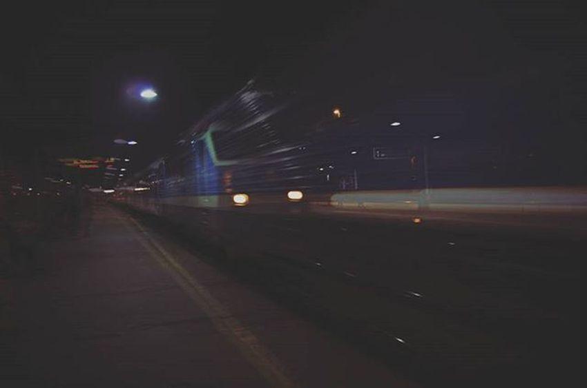 Train Blurry HDR Night Trainyard Lights Blurred