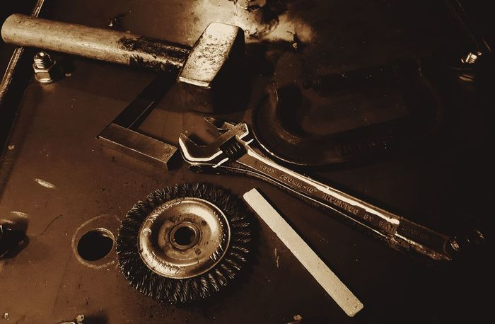 Indoors  High Angle View No People EyeEmNewHere Steel Engineering Tools, Hammer Spanner Square Clamp