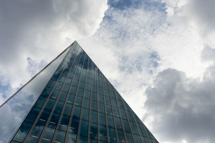 Architecture Built Structure Building Exterior Cloud - Sky Sky Building Modern City Office Building Exterior Office Low Angle View Glass - Material Nature Tall - High Tower Skyscraper Day Reflection No People Triangle Shape Outdoors London The Architect - 2019 EyeEm Awards