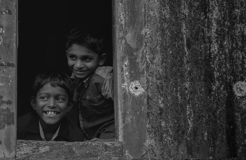 Blackandwhite Bnw Boys Cheerful Childrens Portraits Close-up Fineart Friends Happiness Happy Indian Kids Monochrome Playing Posing Potrait Rabbit ❤️ Real People Sightseeing Smile The Week On EyeEm Togetherness Toothy Smile Two People Window The Week On EyeEm The Portraitist - 2018 EyeEm Awards The Street Photographer - 2018 EyeEm Awards