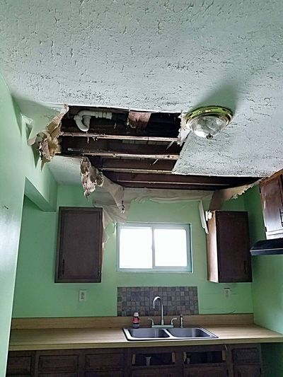 ceiling damage in a house Repairing Repairs Rehab Fixerupper Fixer Upper Fixer-upper Falling In Damaged Kitchen Ceiling Leak Domestic Room Window Architecture Built Structure Deterioration Renovation Damaged Bad Condition Home Improvement Interior