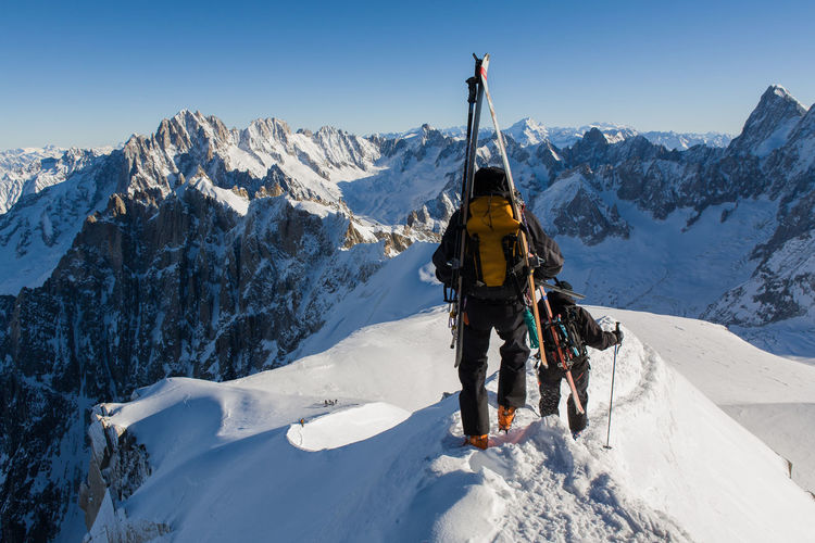 Off-piste skiers Adventure Alpes AlpesFrancaises Alps Beauty In Nature Chamonix Chamonix-Mont-Blanc Cold Temperature Extreme Sports Leisure Activity Mont Blanc Mountain Mountain Range Off Piste Scenics Season  Ski Skiing Snow Snowcapped Mountain Tourist Weather Winter Winter Sport