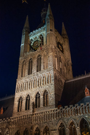 Architecture Built Structure Building Exterior Low Angle View The Past History Sky Building Travel Destinations Belief Night Place Of Worship Tower Travel Spirituality No People Tourism City Gothic Style Spire