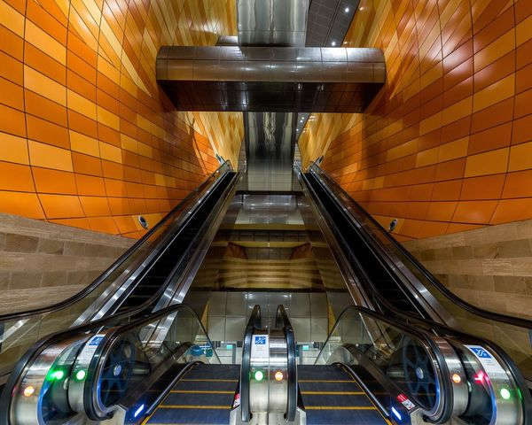 Indoors  Transportation Escalator Illuminated Subway Station Architecture Modern Built Structure Travel Subway Train Futuristic No People Technology Day EyeEmNewHere Postcode Postcards Perspectives On Nature