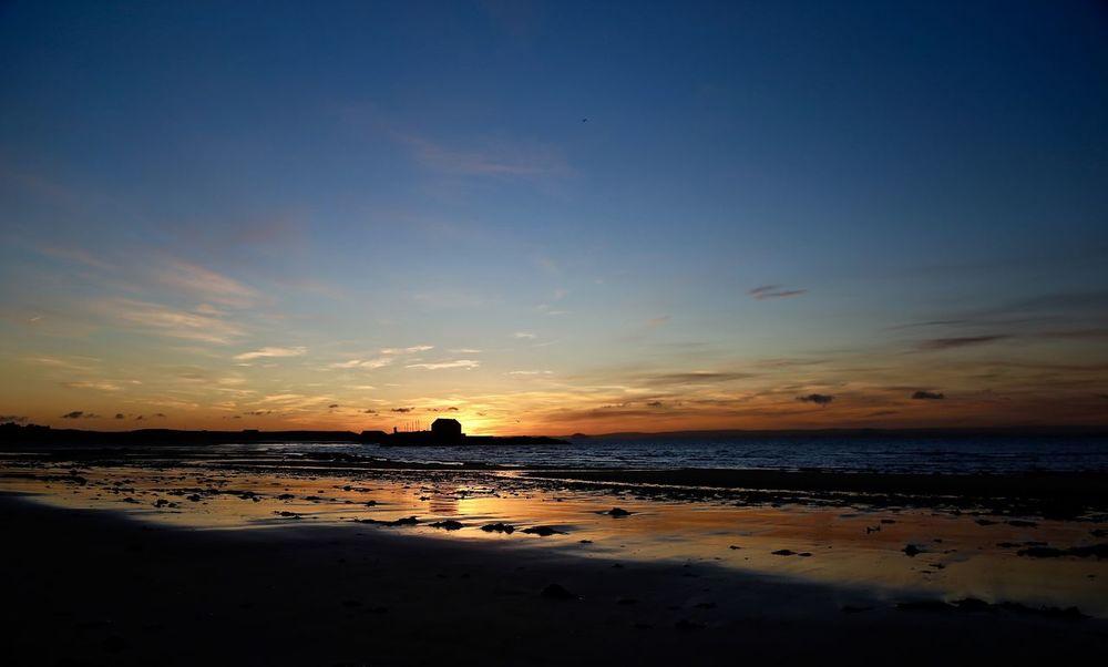 Sunrise seascape. Elie,Scotland. Atmosphere Beach Beauty In Nature Horizon Over Water Outdoors Sea Silhouette Sky Sunrise Water