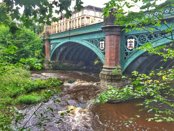 Bridge - Man Made Structure Architecture Arch Built Structure Water Day Outdoors Plant Connection Tree No People Travel Destinations Growth Nature Waterfall Kelvingrove Park GLASGOW CITY Scotland Eye Em Scotland Eyeem Scotland  History Low Angle View City Underthebridge Bridge