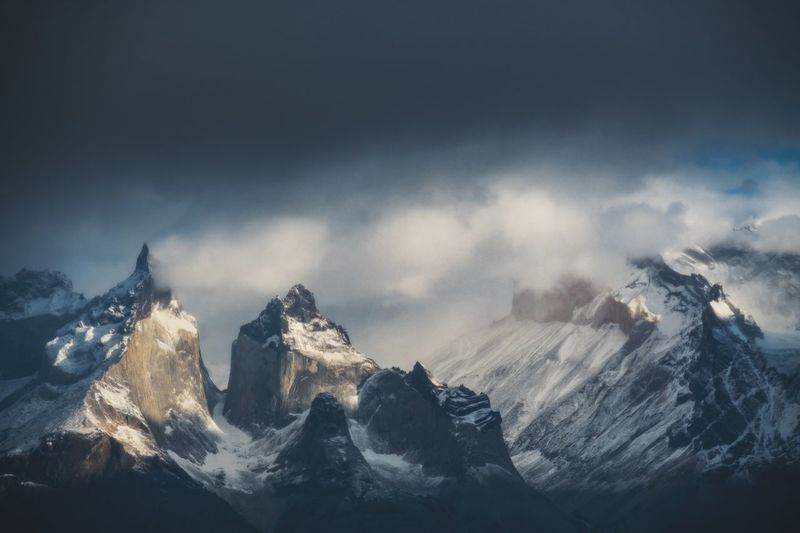Scenic view of snowcapped mountains against sky patagonia