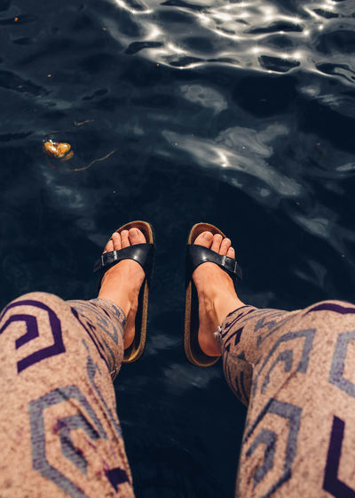ASIA Feet Fromwhereistand High Angle View Human Foot Legs Leisure Activity Outdoors Pattern Person Personal Perspective Perspective Reflection Relaxation Sandals Sea Summer Water Water Reflections Waterfront Waves